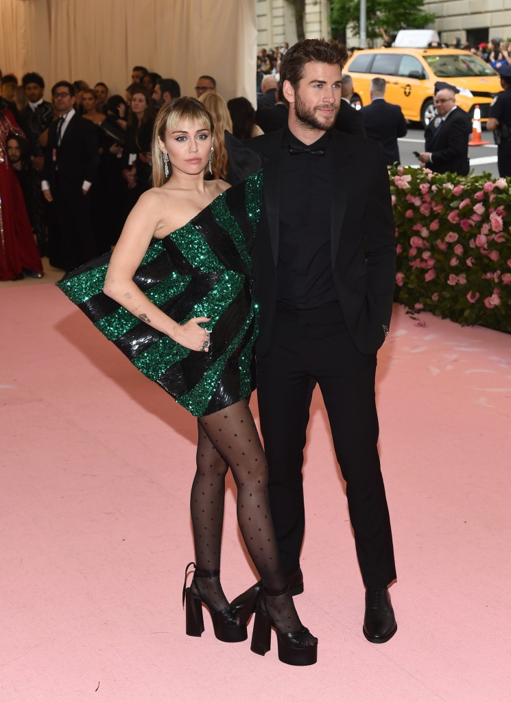 Miley Cyrus and Liam HemsworthCostume Institute Benefit celebrating the opening of Camp: Notes on Fashion, Arrivals, The Metropolitan Museum of Art, New York, USA - 06 May 2019