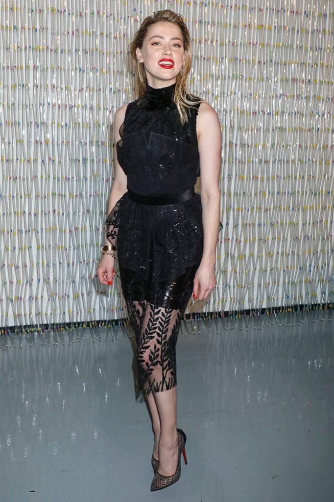 Amber Heard, fendi dress, christian louboutin high heels, black pumps, Planned Parenthood Spring Gala, Arrivals, New York, USA - 01 May 2019Wearing Fendi