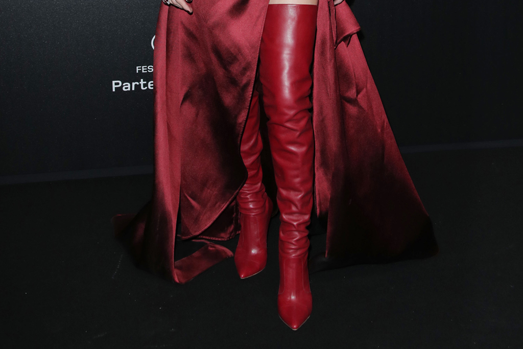 amber heard, at the Chopard Party during the 72nd Cannes Film Festival, May 17, cannes, red dress, over-the-knee boots, elie saab dress, elie saab boots