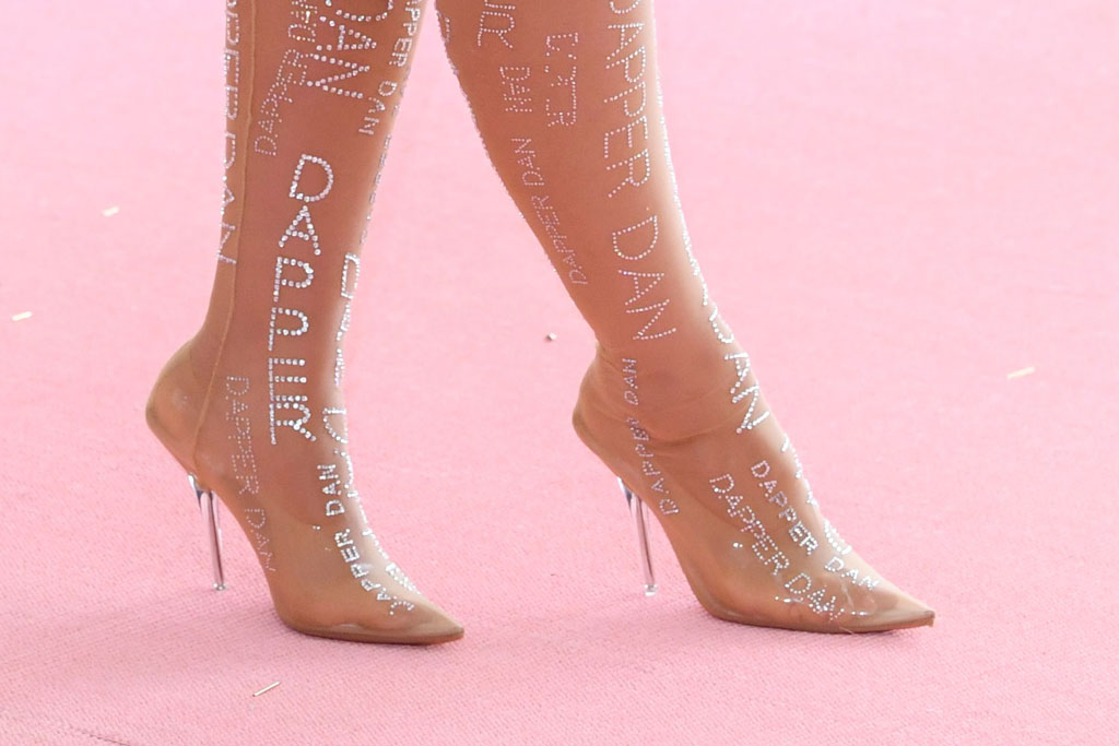 ashley graham, 2019 met gala, celebrity style, red carpet, dapper dan, shoes, heels