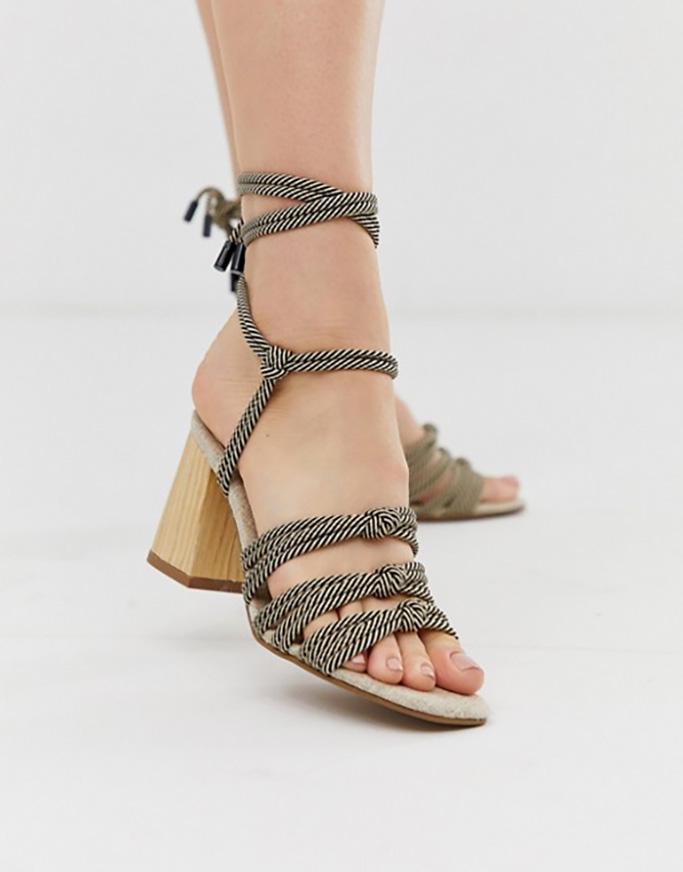 Asos Design Hazel Rope Tie Heeled Sandals
