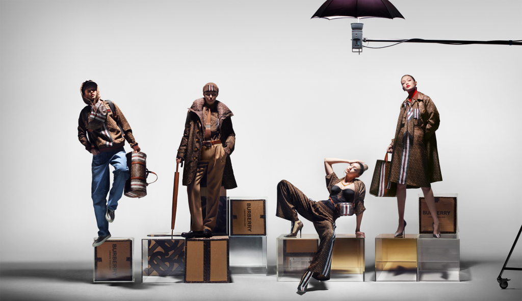 Burberry x Gigi Hadid Mongram collection campaign.