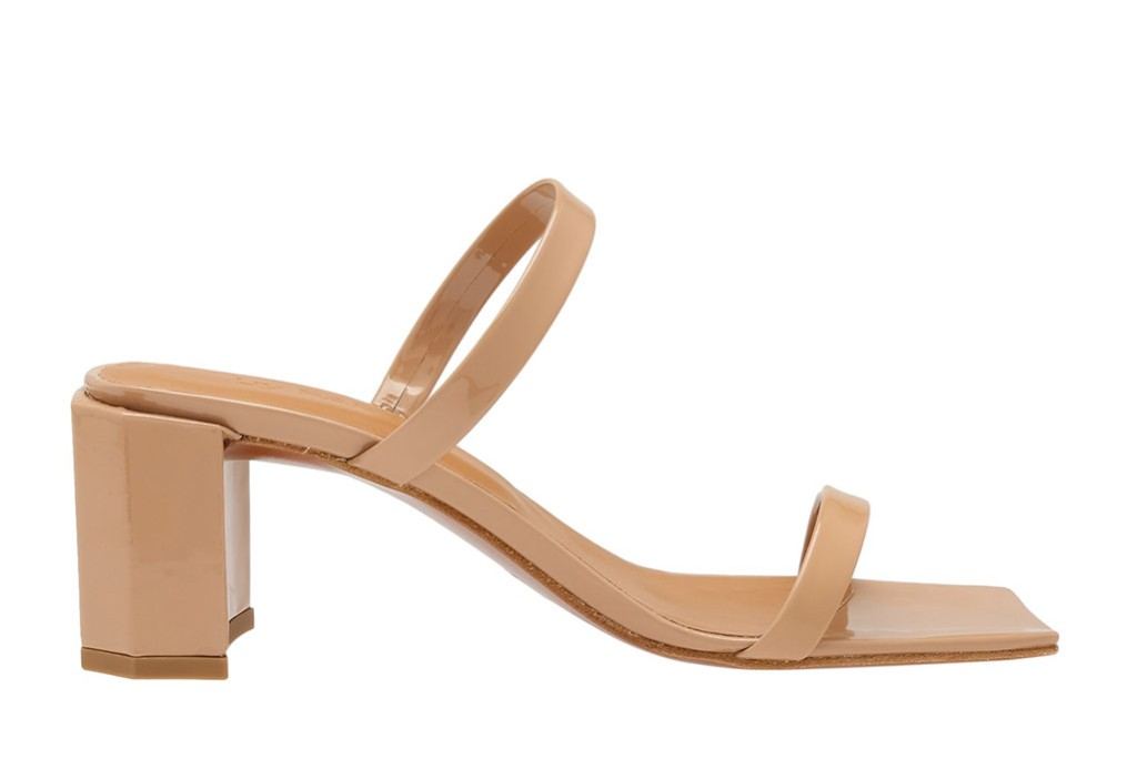By FAR Tanya sandals at Level Shoes, tan, beige, nude, block heel