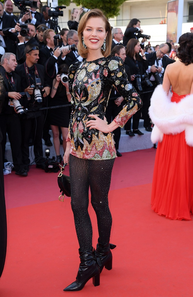 Eva Herzigova, 'Rocketman' premiere, 72nd Cannes Film Festival, France - 16 May 2019 Wearing Dior, tights, boots with ties