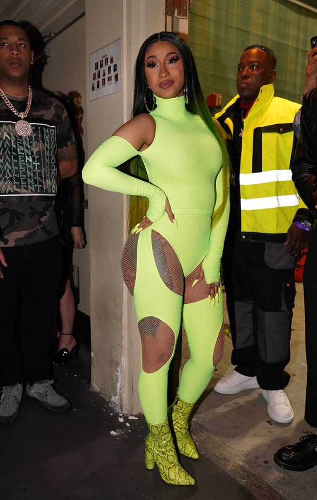 Cardi B, neon green catsuit, cut-out detailing, snakeskin ankle boots, fashion nova, flaunts her curves in sexy green outfit before performing at her fashionova launch event in HollywoodPictured: Cardi BRef: SPL5087705 090519 NON-EXCLUSIVEPicture by: ShotbyJuliann / SplashNews.comSplash News and PicturesLos Angeles: 310-821-2666New York: 212-619-2666London: 0207 644 7656Milan: 02 4399 8577photodesk@splashnews.comWorld Rights