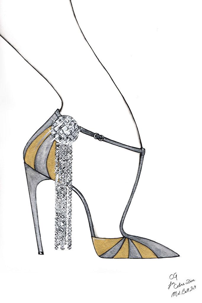 Chloe Gosselin, celine dion, sketch, celine shoe,