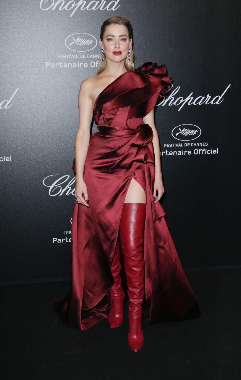 amber heard, at the Chopard Party during the 72nd Cannes Film Festival, May 17, cannes, red dress, over-the-knee boots