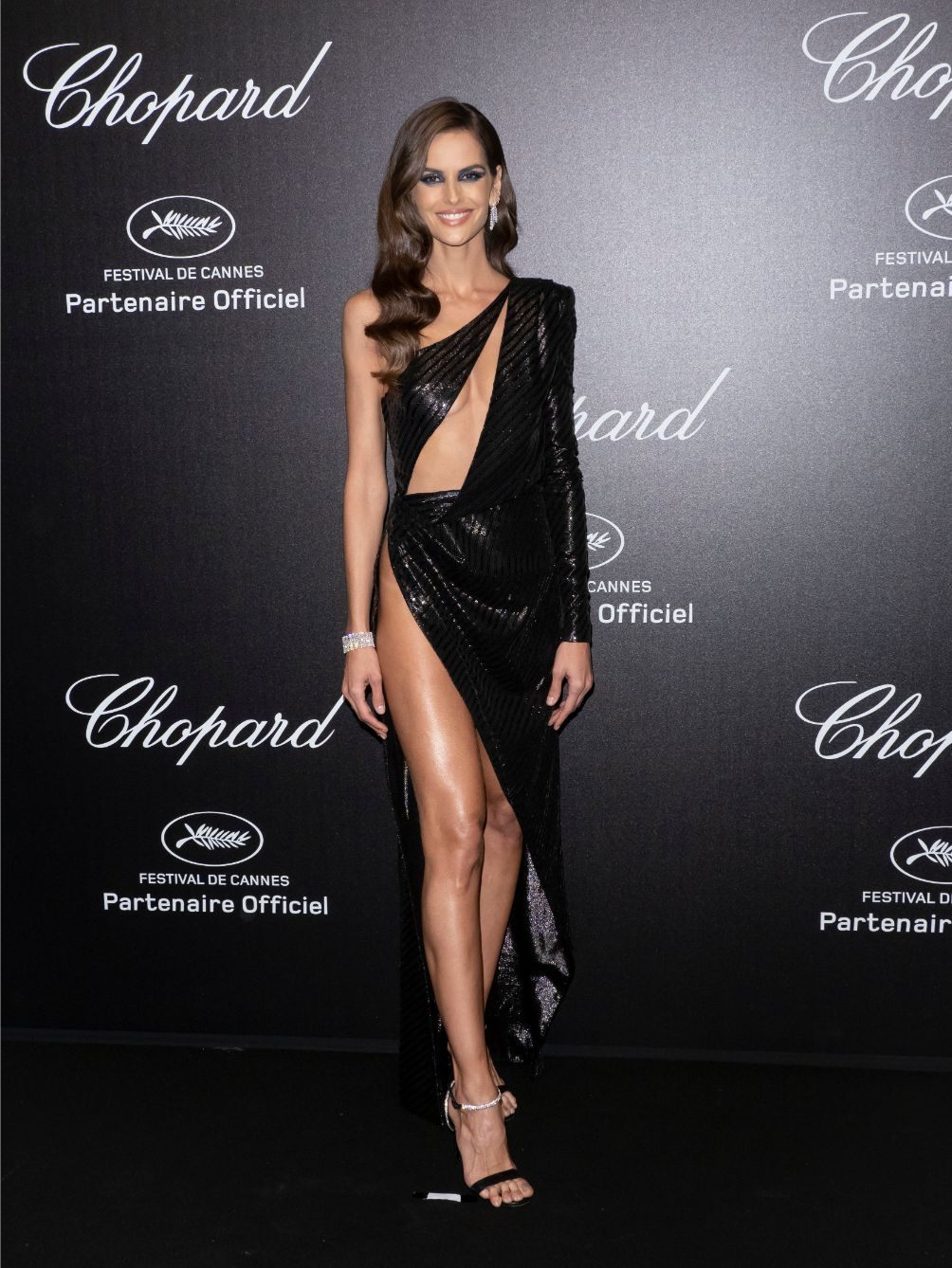 izabel goulart, cannes film festival, chopard party, julien macdonald gown, alevi heels, leg slit