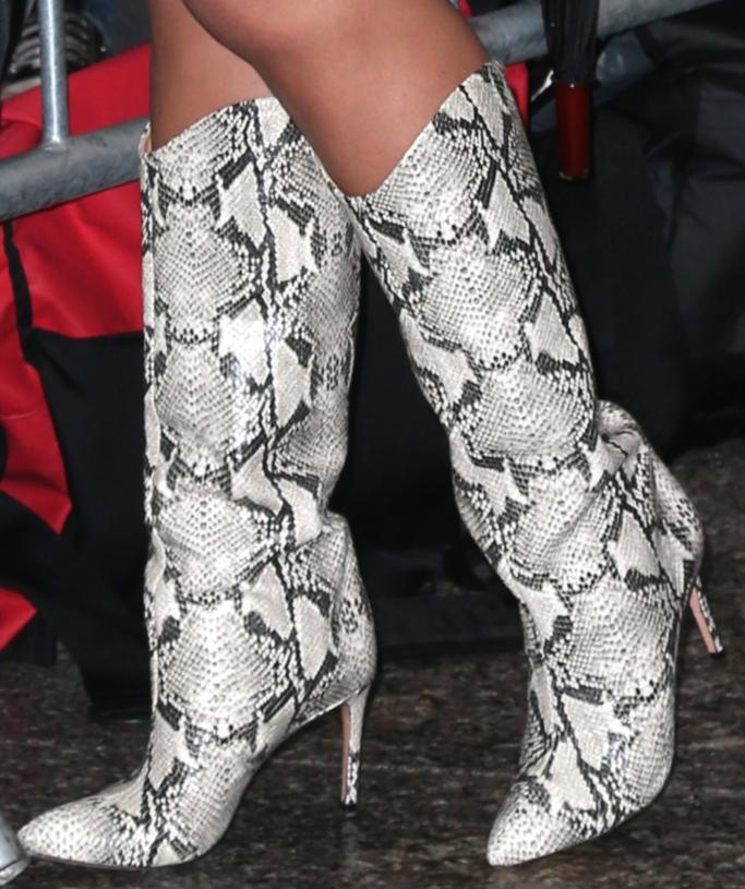 chrissy teigen, schutz maryana snake print boot