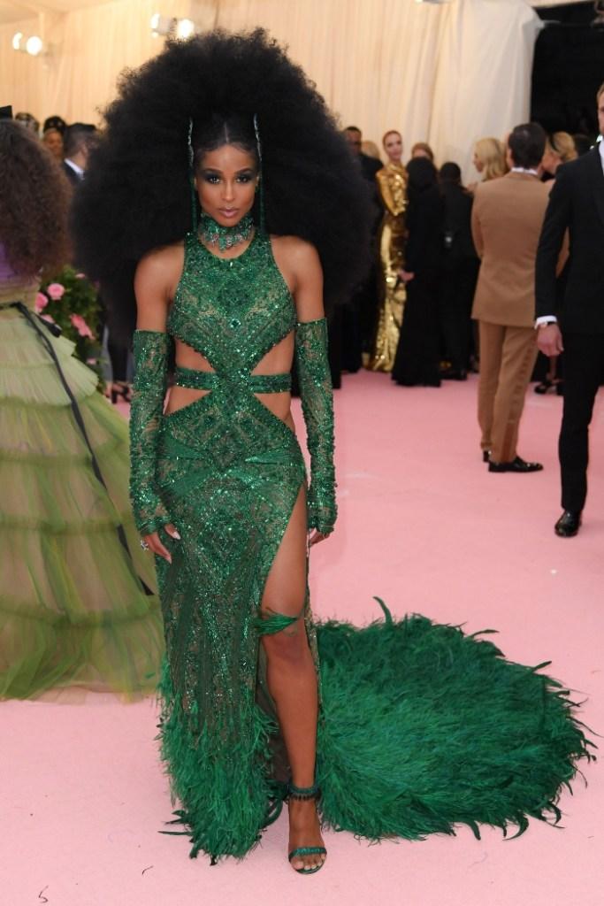 ciara, met gala 2019, peter dundas gown, green