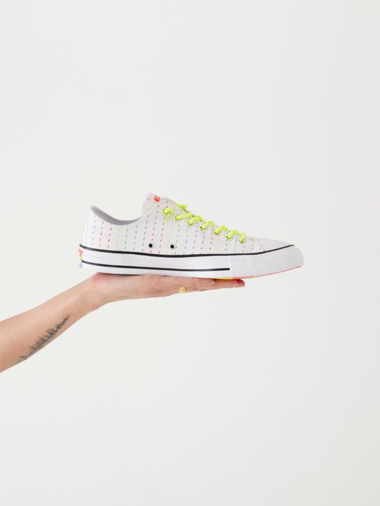 Sneakers from this year's Converse's Pride collection.