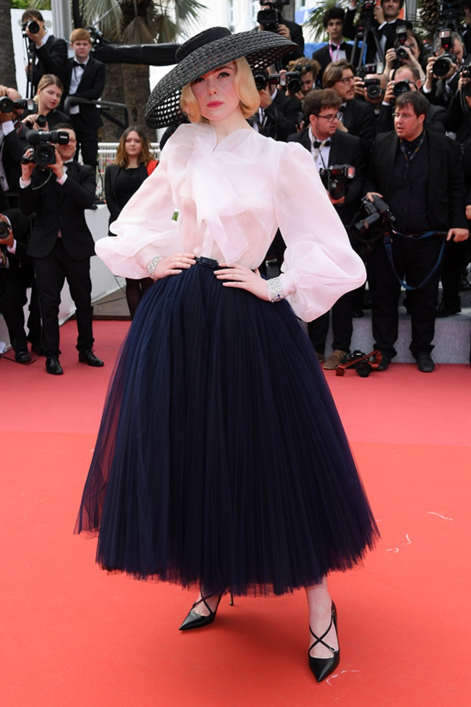 Elle Fanning, dior dress, criss-cross pumps, Once Upon a Time In... Hollywood' premiere, 72nd Cannes Film Festival, France - 21 May 2019Wearing Dior