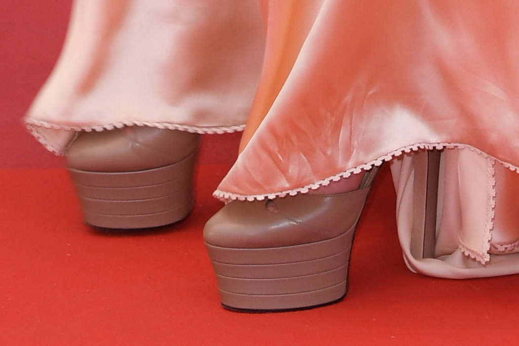 gucci gown, tall heels, cannes film festival 2019, gucci stacked platform pumps, big heel