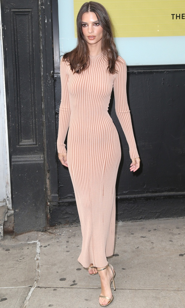 Emily Ratajkowski, dion lee fall 2019 dress, jimmy choo minny sandals, nude dress, celebrity style, Emily Ratajkwoski out and about, New York, USA - 23 May 2019