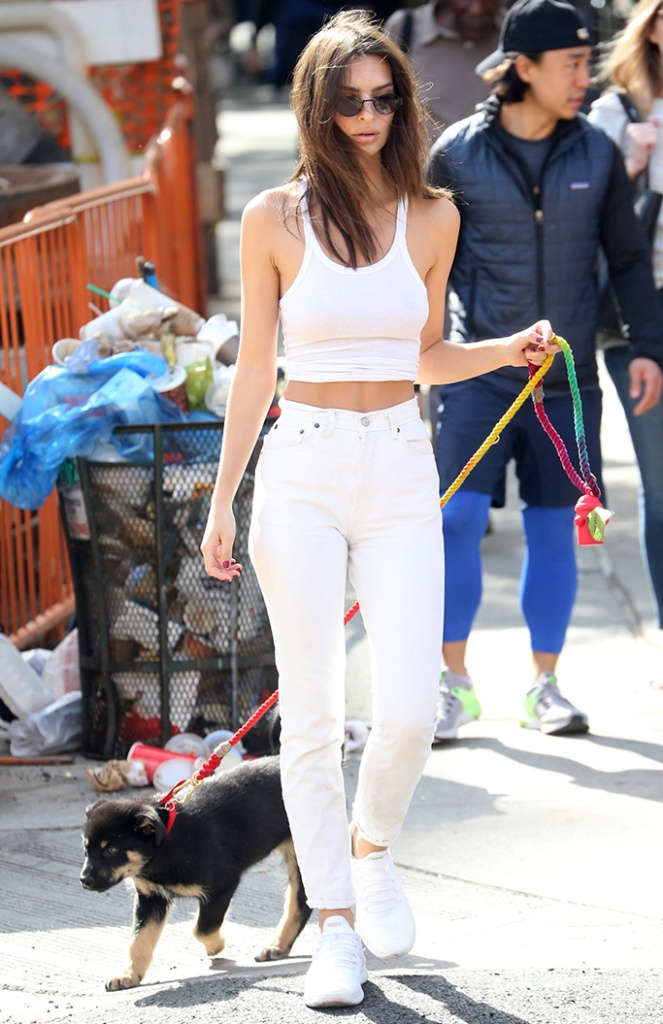 Emily Ratajkowski, white crop top, tank top, celebrity style, white straight leg jeans, white sneakers with toggle detailing, puppy, and her dog ColomboEmily Ratajkowski out and about, New York, USA - 22 May 2019