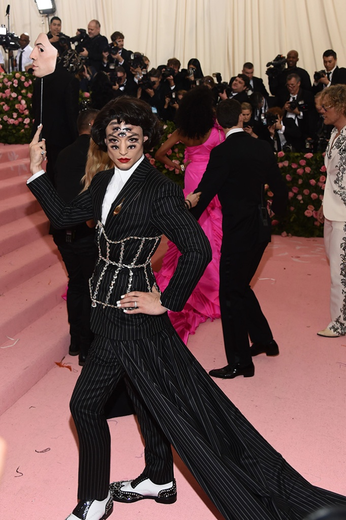 Ezra Miller, burberry, eyes, Costume Institute Benefit celebrating the opening of Camp: Notes on Fashion, Arrivals, The Metropolitan Museum of Art, New York, USA - 06 May 2019