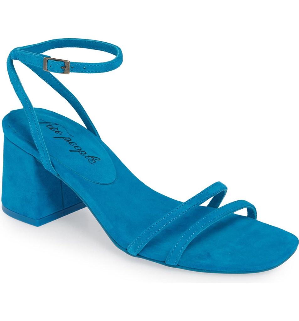 Free People Gabby Sandal, Naked Sandal, Blue suede sandal, summer 2019 sandal trends, summer 2019 trends, heels