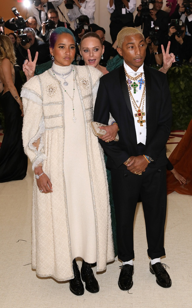Helen Lasichanh, Stella McCartney and Pharrell WilliamsThe Metropolitan Museum of Art's Costume Institute Benefit celebrating the opening of Heavenly Bodies: Fashion and the Catholic Imagination, Arrivals, New York, USA - 07 May 2018