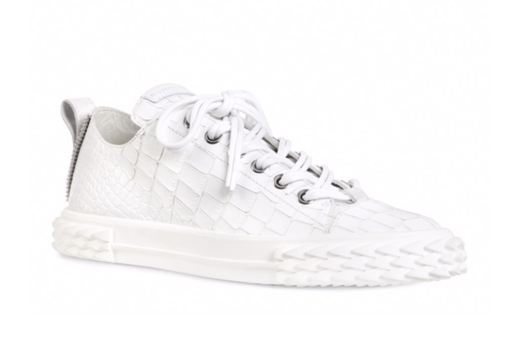Giuseppe Zanotti x Rae Sremmurd, giuseppe zanotti, the blabber, sneakers, white low-top sneaker, croc printed