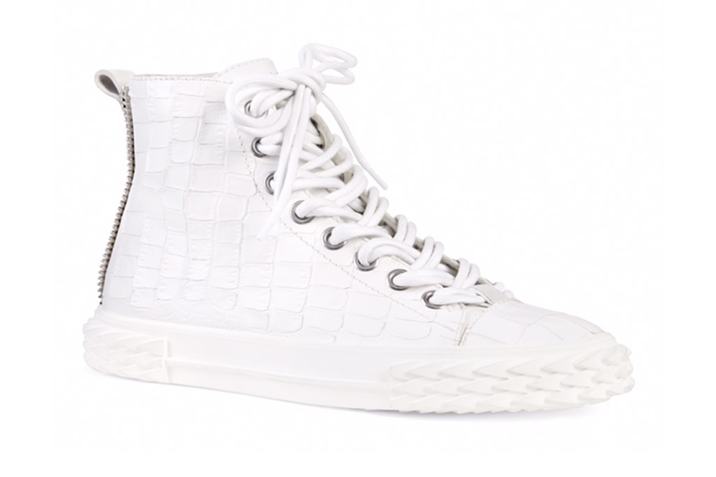 Giuseppe Zanotti x Rae Sremmurd, giuseppe zanotti, the blabber, sneakers, white high-top sneaker, croc printed
