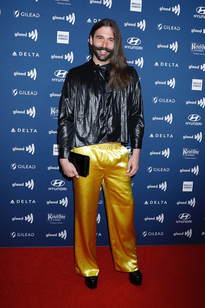 Jonathan Van Ness, platform shoes, gold and black outfit, celebrity style, 30th Annual GLAAD Media Awards, Arrivals, New York, USA - 04 May 2019