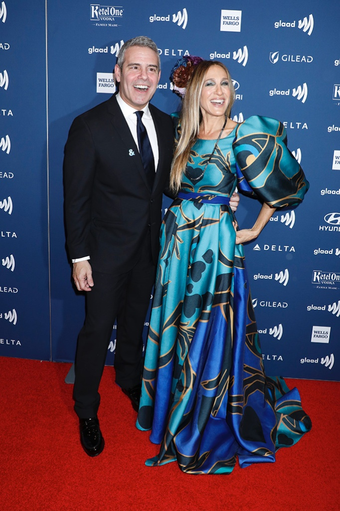 Andy Cohen and Sarah Jessica Parker30th Annual GLAAD Media Awards, Arrivals, New York, USA - 04 May 2019, elie saab gown