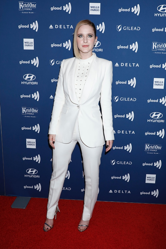 Rachel Brosnahan, white pantsuit, silver sandals, celebrity style, red carpet, 30th Annual GLAAD Media Awards, Arrivals, New York, USA - 04 May 2019