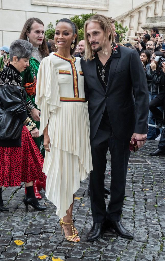 Zoe Saldana and Marco PeregoGucci Cruise 2020 show, Arrivals, Rome, Italy - 28 May 2019