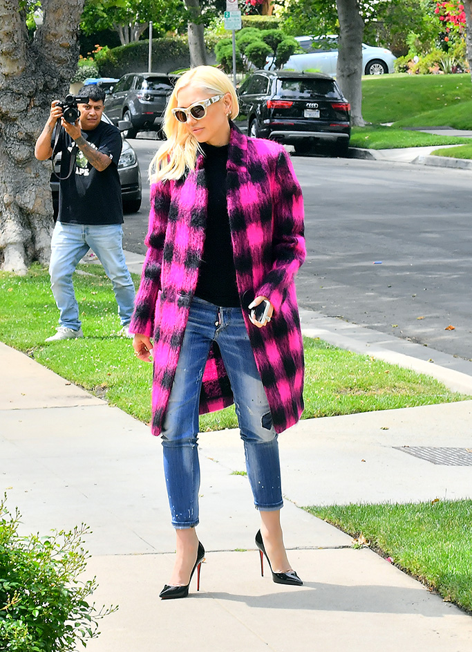 Gwen Stefani, christian louboutin so kate pumps, distressed jeans, pink and black checked coat, sunglasses, celebrity style, was spotted leaving church with her sons Kingston, Zuma, and Apollo on Mother's Day in Los Angeles, CA. After church the family headed to her parents house to continue the celebration.Pictured: Apollo Bowie Flynn Rossdale,Kingston Rossdale,Zuma Rossdale,Gwen StefaniRef: SPL5088886 120519 NON-EXCLUSIVEPicture by: SplashNews.comSplash News and PicturesLos Angeles: 310-821-2666New York: 212-619-2666London: 0207 644 7656Milan: 02 4399 8577photodesk@splashnews.comWorld Rights