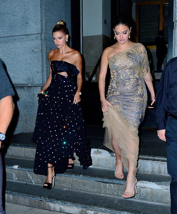 Hailey baldwin, alaia, blossom ball, giambattista valli fall 2018 couture gown, jimmy choo max platform sandals, celebrity style, Bieber steps out for dinner in jewelled gown to Cipriani's for dinnerPictured: Hailey BieberRef: SPL5087709 090519 NON-EXCLUSIVEPicture by: PapCulture / SplashNews.comSplash News and PicturesLos Angeles: 310-821-2666New York: 212-619-2666London: 0207 644 7656Milan: 02 4399 8577photodesk@splashnews.comWorld Rights
