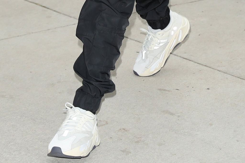 hailey baldwin, adidas yeezy boost 700 anorak sneakers, celebrity shoe style, street style, new york city