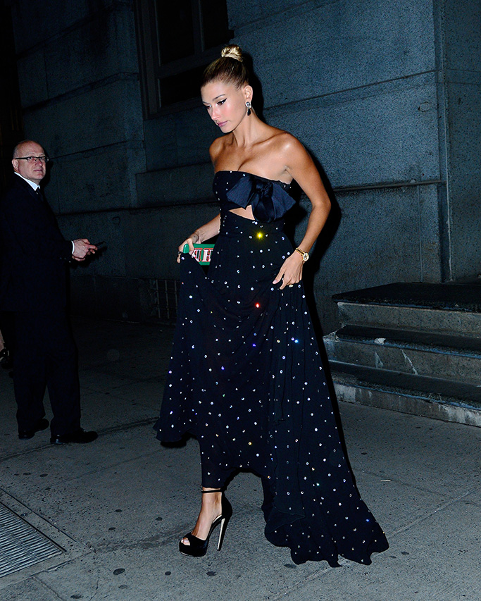 Hailey Baldwin, giambattista valli fall 2018 couture, blossom ball, celebrity style, jimmy choo shoes, max platform sandals, Bieber steps out for dinner in jewelled gown to Cipriani's for dinnerPictured: Hailey BieberRef: SPL5087709 090519 NON-EXCLUSIVEPicture by: PapCulture / SplashNews.comSplash News and PicturesLos Angeles: 310-821-2666New York: 212-619-2666London: 0207 644 7656Milan: 02 4399 8577photodesk@splashnews.comWorld Rights