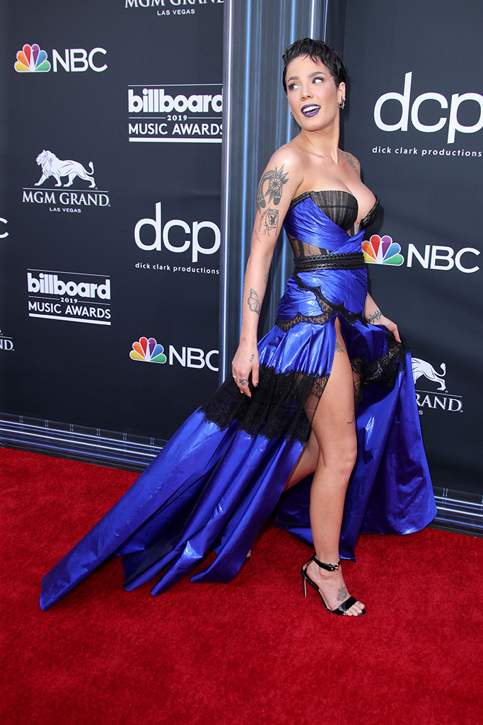 Halsey, low cut dress, legs, blue and black dress, black strappy sandals, Billboard Music Awards, Arrivals, MGM Grand Garden Arena, Las Vegas, USA - 01 May 2019