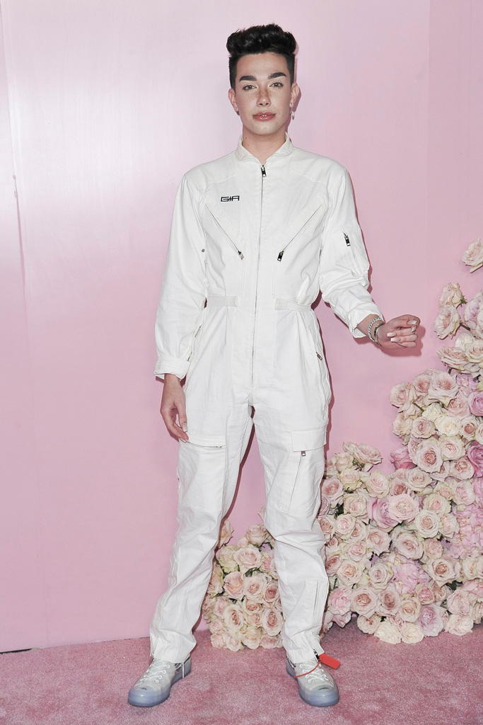 james charles, patrick ta beauty collection launch, celebrity style, i am gia jumpsuit, off-white x nike converse chuck taylor sneakers, celebrity style