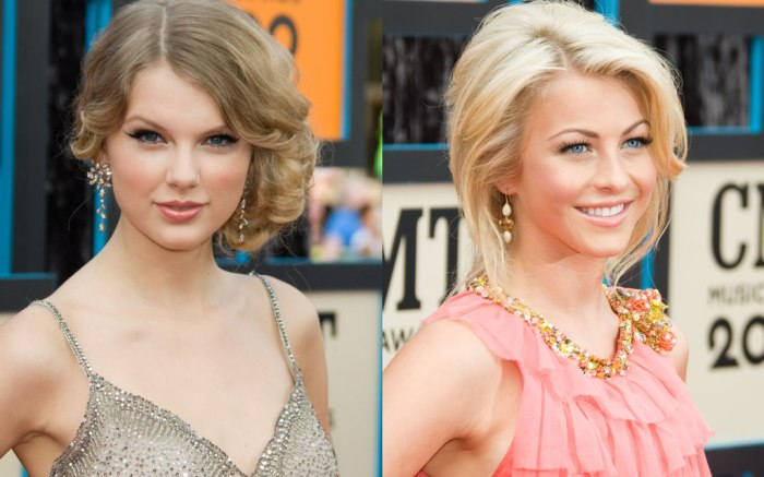 Taylor Swift (L) and Julianne Hough., celebrity style, 2009 cmt awards, red caroet