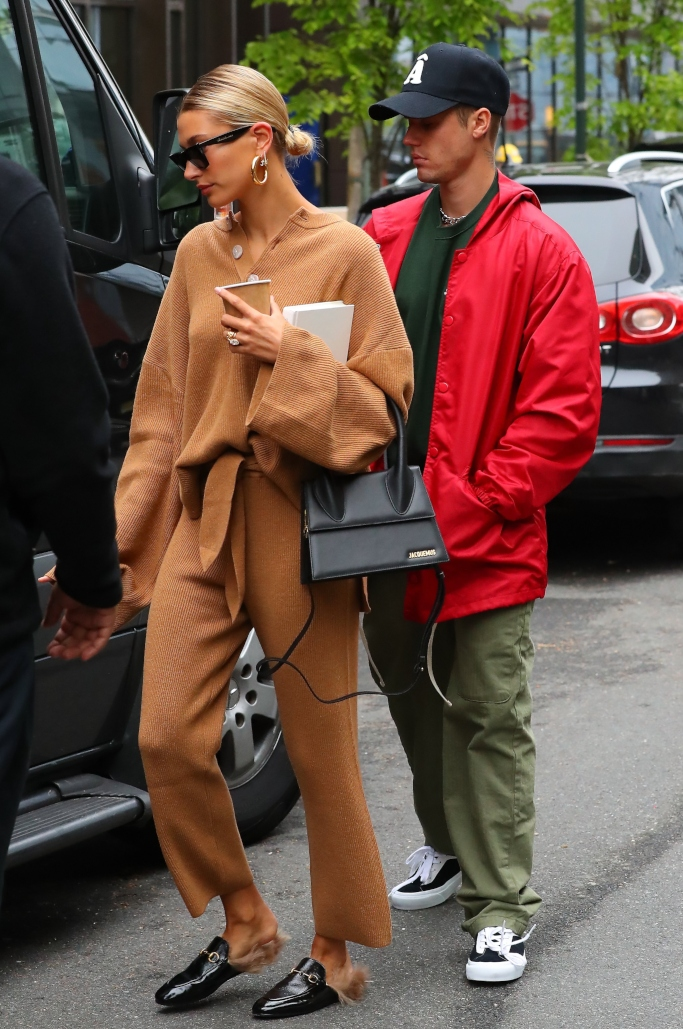 Justin Bieber and Hailey Baldwin, gucci horsebit loafers, street style