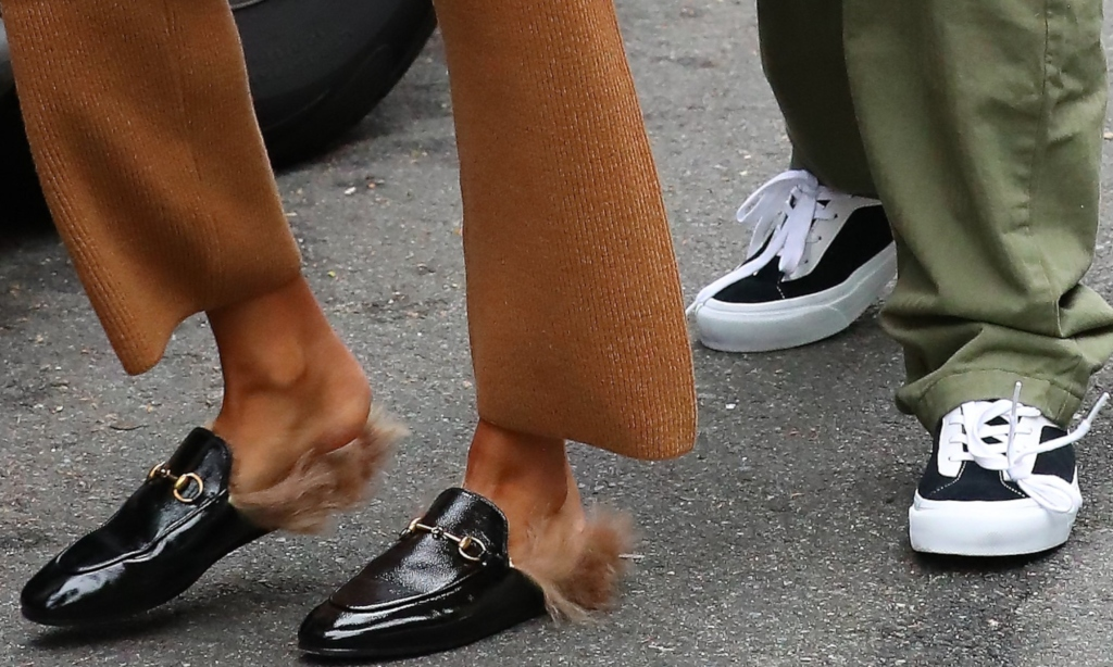 hailey baldwin, horsebit loafers, justin bieber shoe style