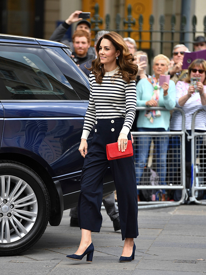 kate middleton, gianvito rossi pumps, striped top, navy trousers, Catherine Duchess of CambridgeThe Duke and Duchess of Cambridge launch The King's Cup Regatta, London, UK - 07 May 2019The Duke and Duchess of Cambridge will go head to head in a major sailing regatta race this summer in support of Their Royal Highnesses' charitable causes. Each boat taking part will represent one of eight charities and the winning team will be awarded the historic trophy The King's Cup