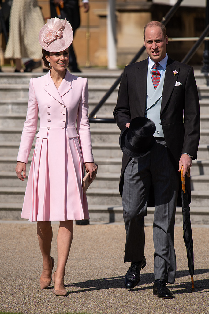 pink alexander mcqueen dress, nude shoes, Prince William and Catherine Duchess of CambridgeGarden party at Buckingham Palace, London, UK - 21 May 2019