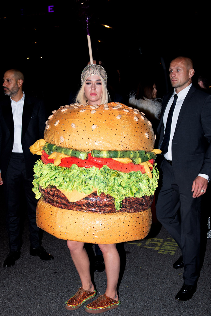 Katy Perry, met gala after-party, celebrity style, burger costume, moschino, katy perry collections sneakers,