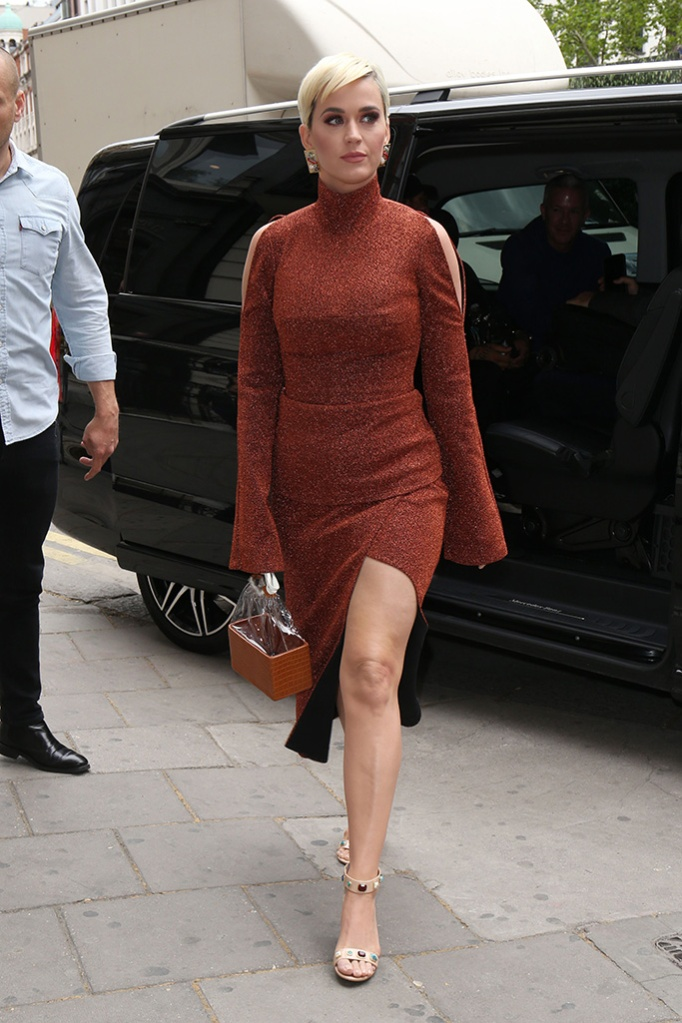 katy perry,camilla and marc, thigh-high slit, katy perry collections sandals, celebrity shoe style, london, Katy PerryKaty Perry out and about, London, UK - 02 May 2019