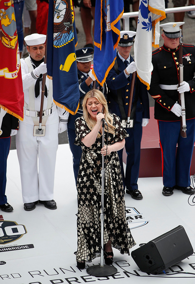 US singer Kelly Clarkson sings the national anthem before the 103rd running of the Indianapolis 500 auto race at the Indianapolis Motor Speedway in Indianapolis, Indiana, USA, 26 May 2019.103rd running of the Indianapolis 500 auto race, Indinapolis, USA - 26 May 2019
