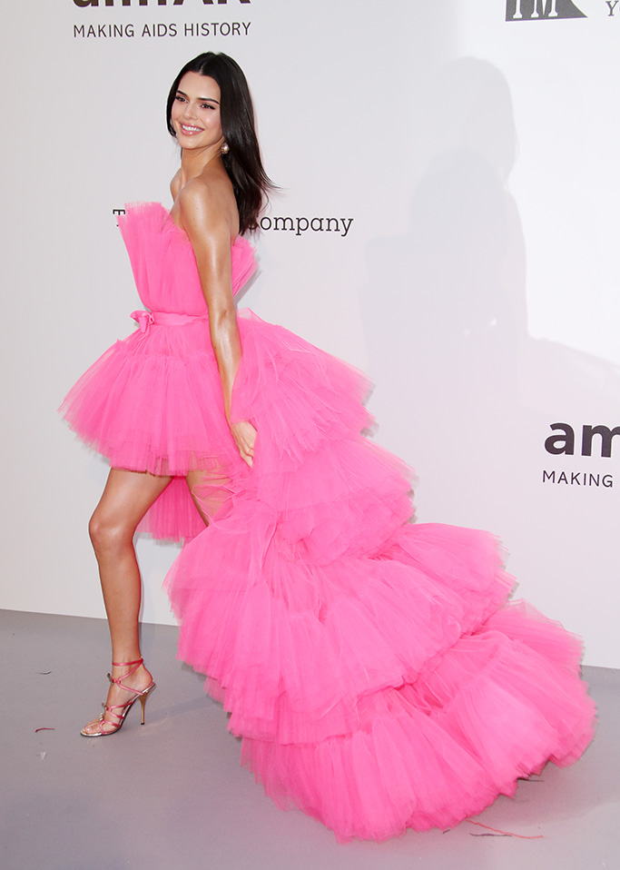 Kendall Jenner, giambattista valli x h&M dress, pink, legs, celebrity style.amfAR's 26th Cinema Against AIDS Gala, Arrivals, 72nd Cannes Film Festival, France - 23 May 2019The star-studded event will include a black-tie dinner, a celebrity-filled live auction, a runway show of exclusive looks curated by Carine Roitfeld, and special performances by Mariah Carey, Dua Lipa, Tom Jones, and The Struts. amfAR, The Foundation for AIDS Research, is one of the world's leading nonprofit organizations dedicated to the support of AIDS research, HIV prevention, treatment education, and advocacy. Since 1985, amfAR has invested nearly $550 million in its programs and has awarded more than 3,300 grants to research teams worldwide Wearing Giambattista Valli x H&M