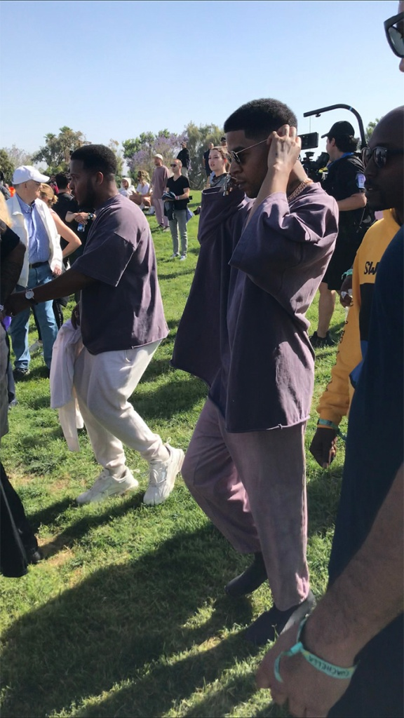 kid cudi, yeezy scuba sneakers, coachella 2019, celebrity style, kanye west , sunday service