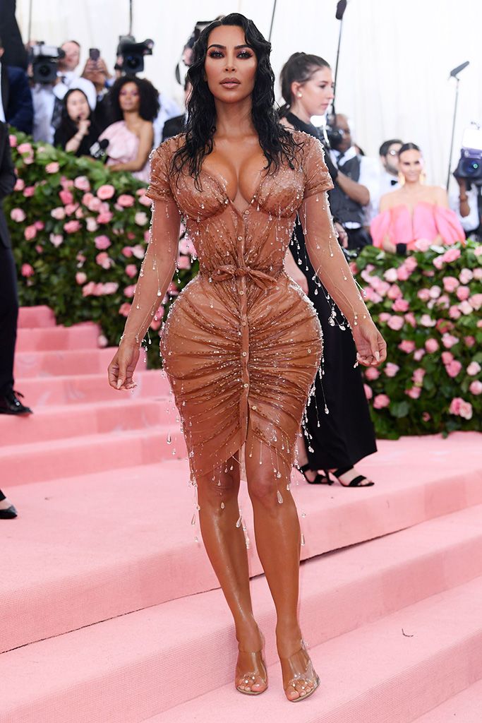 Kim Kardashian, mugler dress, naked dress trend, clear sandals, red carpet, WestCostume Institute Benefit celebrating the opening of Camp: Notes on Fashion, Arrivals, The Metropolitan Museum of Art, New York, USA - 06 May 2019