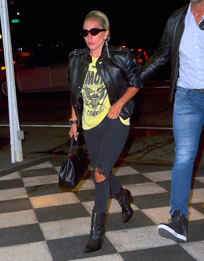Lady Gaga, ramones t-shirt, celine boots, leather jacket, ripped jeans, garrett leight sunglasses, was spotted heading to a fitting for the Met Gala on Saturday, two days before the big event which she is Co-hosting. She rocked a vintage Tee and Leather jacket as she headed inside with no makeup.Pictured: Lady GagaRef: SPL5086155 050519 NON-EXCLUSIVEPicture by: DIGGZY / SplashNews.comSplash News and PicturesLos Angeles: 310-821-2666New York: 212-619-2666London: 0207 644 7656Milan: 02 4399 8577photodesk@splashnews.comWorld Rights, No Portugal Rights