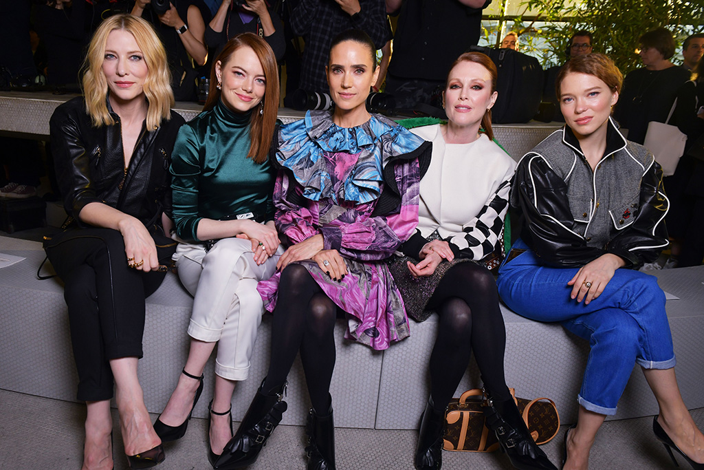 Cate Blanchett, Emma Stone, Jennifer Connelly, Julianne Moore and Lea Seydoux in the front rowLouis Vuitton Cruise 2020 show, Front Row, Trans World Airlines Flight Center, John F. Kennedy International Airport, New York, USA - 08 May 2019