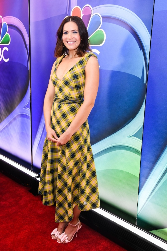 mandy moore, derek lam dress, christian louboutin heels, nbc upfronts, plaid