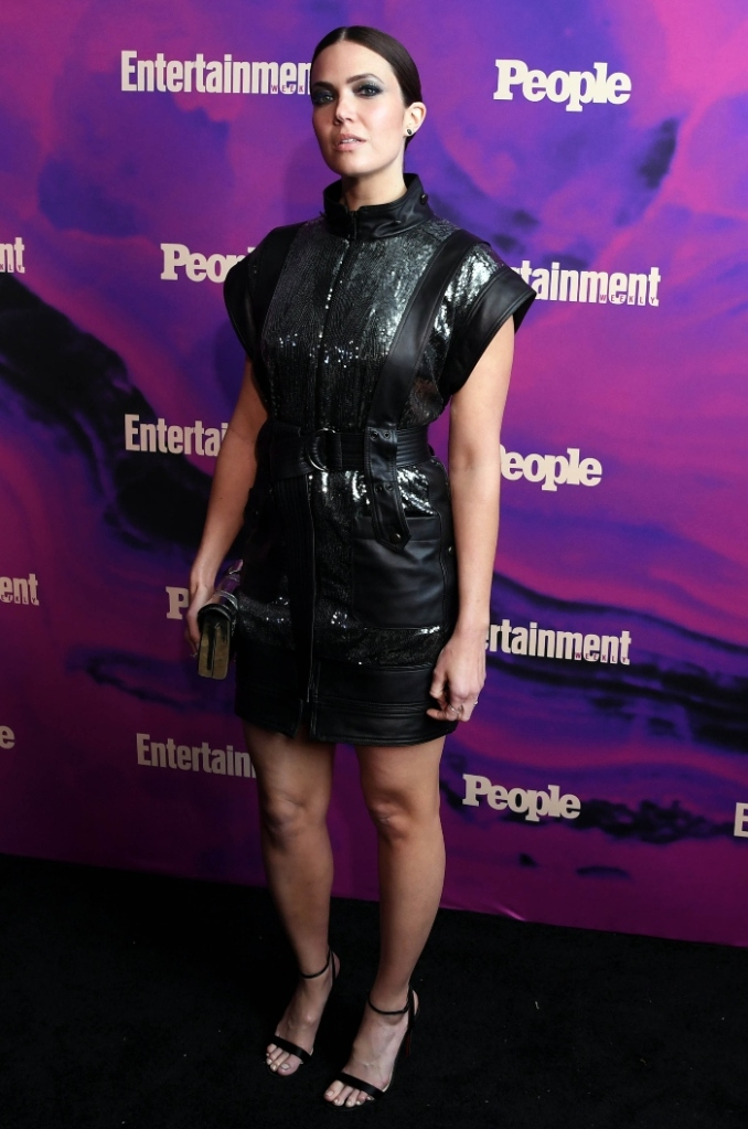 mandy moore, people, entertainment week upfronts party, upfronts, leather dress