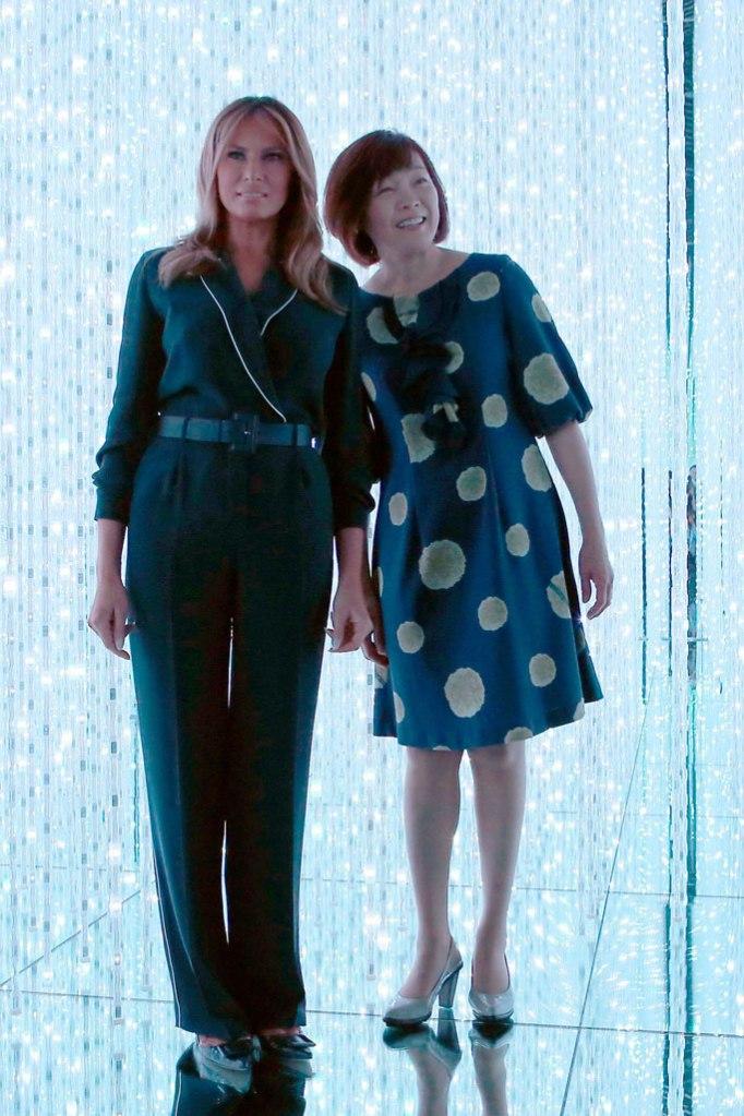 Melania Trump, jumpsuit, flats, akie abe, tokyo, japan, celebrity style, flotus, may 2019
